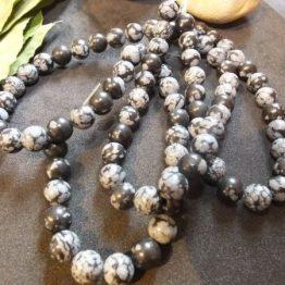 perles obsidienne neige 8mm