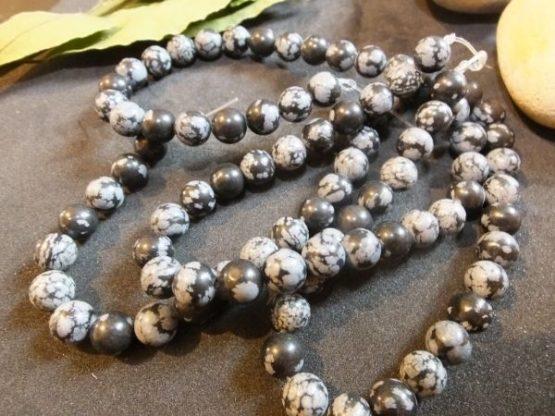 perles pierre obsidienne flocon de neige 8mm