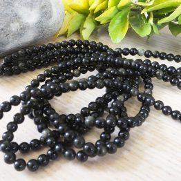 perles obsidienne dorée 6mm