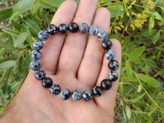 obsidienne flocon de neige bracelet