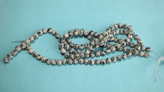perles jaspe dalmatien pierre 6mm