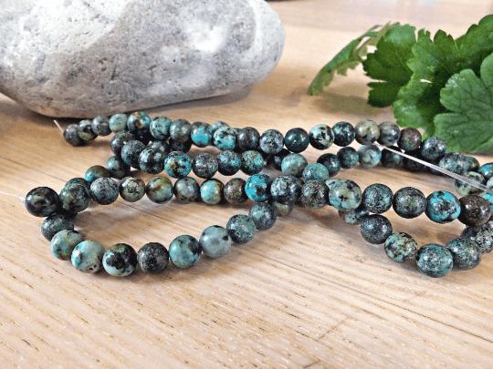 perles 8mm turquoise naturelle