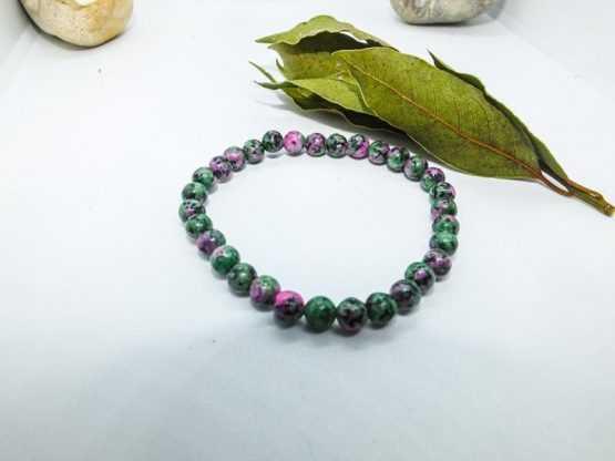 rubis zoisite anyolite, bracelet perles mm