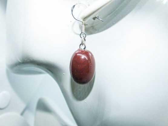 """jaspe rouge naturel boucles d""""oreilles"""