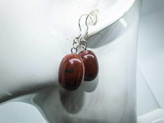 jaspe rouge pierre boucles d'oreilles