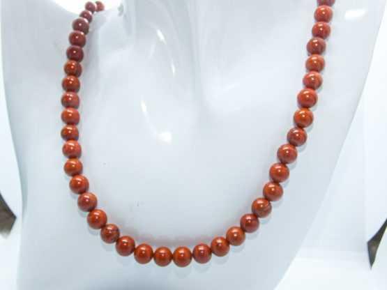 collier perles jaspe rouge