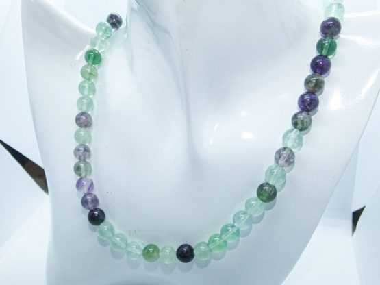 collier perles fluorine arc en ciel