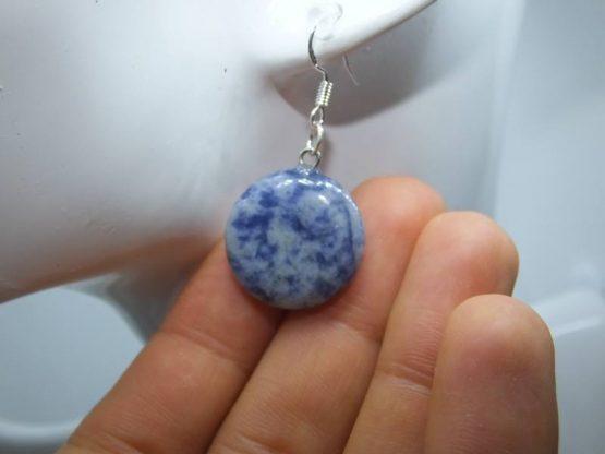 boucle d oreille pierre bleu sodalite