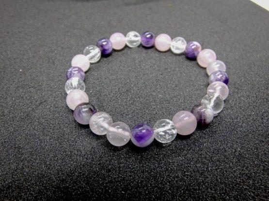 bracelet améthyste quartz rose cristal de roche