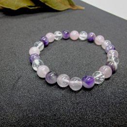 bracelet quartz rose cristal de roche