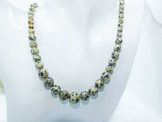 jaspe dalmatien perles collier