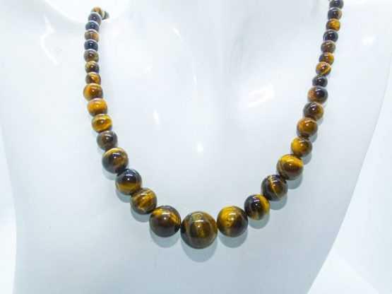 collier perle oeil de tigre