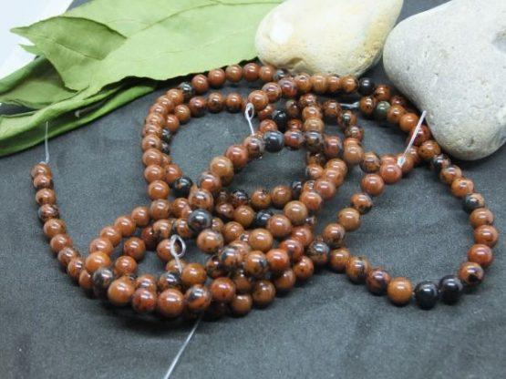 obsidienne acajou perles 6mm