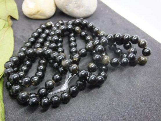 perles obsidienne 8mm or