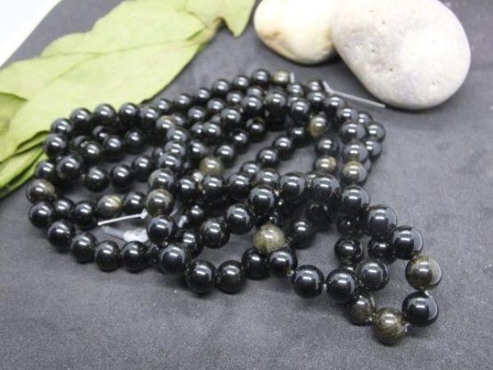 perles obsidienne dorée