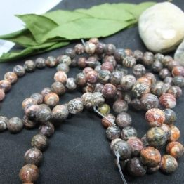 perles 8mm rhyolite leopardite